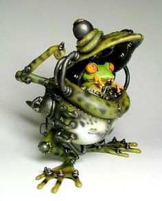 赤目ロボ2 Arte Robot, Robot Art, Animal Sculptures, Sculpture Art, Estilo Tim Burton, Frog And Toad, Recycled Art, Creature Design, Fantasy Creatures