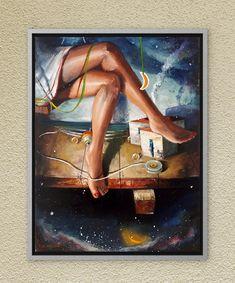 Female figure art dream painting Oil on canvas Original handmade artwork Contemporary art Modern bedroom wall art Girls room wall art gift Dream Painting, Childhood Memories, Oil On Canvas, Paintings, Handmade Gifts, Artist, Free, Etsy, Kid Craft Gifts
