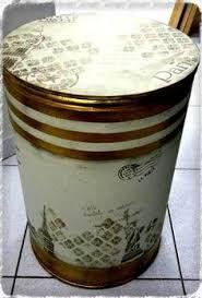Resultado de imagem para como pintar tambor de papelao Diy Recycle, Recycling, Unusual Gifts, Drum Shade, Storage Containers, String Art, Wooden Boxes, Repurposed, Mason Jars