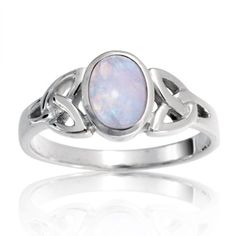 Amazon.com: Bling Jewelry .925 Sterling Silver Celtic Triquetra Moonstone Knot Ring: Jewelry