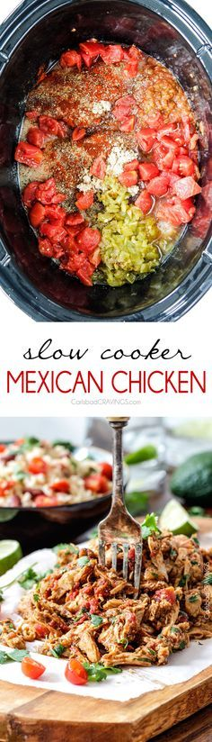 Easy Slow Cooker Shredded Mexican Chicken simmered with Mexican spices, salsa and green chilies for the BEST Mexican chicken perfect for tacos, burritos, tostadas, salads, etc. Couldn't be any easier! via @carlsbadcraving