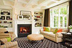 GR Interiors Green and Orange Living Room