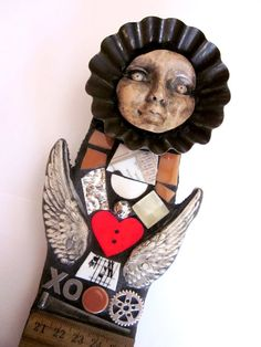 XO Angel. Salvaged Scrap & Wood Mosaic Altered by ShawnDuBois, $25.00