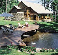 Architecture – Enjoy the Great Outdoors! Pond Design, Garden Design, House Design, Cabin Homes, Log Homes, Lake Landscaping, Ponds Backyard, Beautiful Homes, House Plans