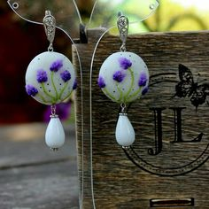Lavender earrings, Sterling earrings for stylish ladies, polymer clay jewelry with agate Cristal and beads of stones