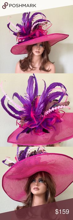 Hot Pink Purple Wide Brim Racetrack Hat This is a wide brim hot pink base hat with feathers of your choice to match any outfit Jenifer Buckley Hats Accessories Hats