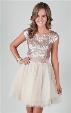 homecoming dress with sequin cap sleeve bodice and full tulle skirt actually has sleeves!(: