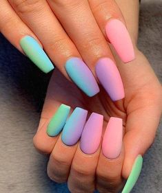 Super Cute Nail Designs & Looks for 2019 Nails Art # Nageldesign Acrylic Nails Natural, Summer Acrylic Nails, Best Acrylic Nails, Best Nails, Acrylic Nails Coffin Ombre, Beauty Nail, Cute Acrylic Nail Designs, Girls Nail Designs, Coffin Nails Designs Summer