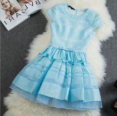 Slim round neck embroidered dress AX101503ax