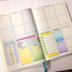 Bullet journal inspiration weekly planning pages. Colourful - what are these pens?
