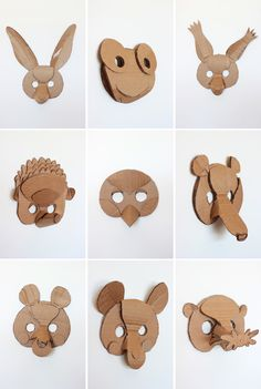 5 Creative Animal Mask Ideas - - What kid doesn't love playing dress up? I've rounded-up 5 DIY animal mask ideas that will offer a fun opportunity to do crafts as a family. If your children love animals, they'll adore these. Kids Crafts, Crafts To Do, Projects For Kids, Diy For Kids, Art Projects, Arts And Crafts, Book Crafts, Cardboard Mask, Cardboard Animals