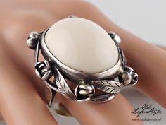 Unikatowy pierścionek ORNO - agat biały, okaz muzealny!!!