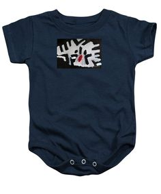 Patrick Francis Navy Blue Designer Baby Onesie featuring the painting White Tiger 2014 by Patrick Francis