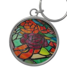 Red Rose Stained Glass  Keychain