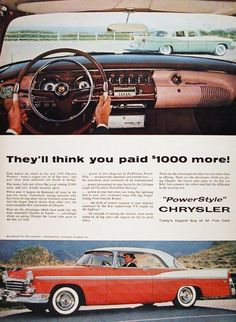 1956 Chrysler Windsor V8 Coupe original vintage advertisement. Features Pushbutton Powerflite Transmission, PowerPilot Steering control and PowerSmooth Brakes. With complete view of dash controls. Today's biggest buy of all fine cars.