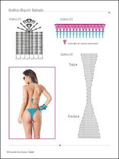 grafico-biquini-babado Crochet Bikini Bottoms, Crochet Bikini Pattern, Crochet Diagram, Crochet Blouse, Bead Crochet Rope, Crochet Art, Crochet Stitches, Crochet Designs, Crochet Patterns