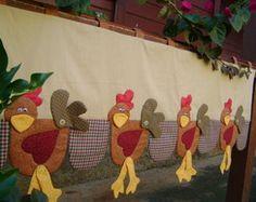 Bandô de cortina com galinhas country