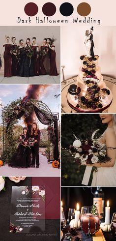 Halloween Wedding Centerpieces, Halloween Wedding Decorations, Theme Halloween, Halloween Wedding Invitations, Halloween Weddings, Fall Wedding Colors, Color Themes For Wedding, Gothic Wedding Ideas, Black Wedding Decor