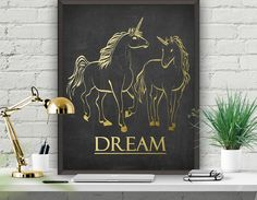 Dream Art Poster Unicorn Printable Gold Unicorn  Print Home Decor Office Decor Wall Poster Instant Download  Gold Poster 8x10 16x20 22x28 Unicorn Printables, Watercolor Galaxy, Dream Art, Nursery Prints, Poster Wall, Solar System, Astronomy, Printable Art, Watercolor Paintings
