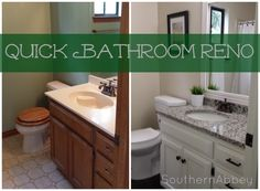 A great before and after story for about $400.  What a difference! Quick Bathroom Reno  southernabbey.com