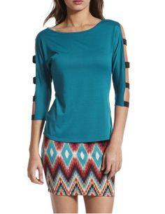 Elastic cold-shoulder top and skirt. <3