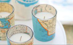 favor and/or decoration. map votives. #DIY