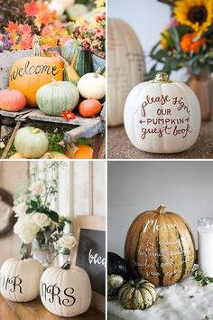 We've selected out 7 wedding event bouquets that display the best fall wedding flowers. Each bouquet features a fall-inspired color combination that . White Pumpkins Wedding, Fall Pumpkin Wedding, Thanksgiving Wedding, Autumn Wedding, Fall Wedding Centerpieces, Pumpkin Centerpieces, Diy Wedding Decorations, Bridal Shower Decorations, October Wedding Dresses