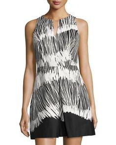 HALSTON HERITAGE Sleeveless Printed Dress, Black. #halstonheritage #cloth #