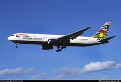 British Airways (Historic fleet) Boeing 767-336(ER) G-BNWD aircraft, with ''Ndebele Emmly'', similar to Nbedele Martha, by Emmly Masanabo-South Africa motif on tail fin, on short finals to England London Heathrow International Airport. 1999.