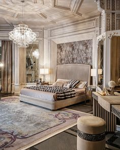 Neoclassical And Art Deco Luxurious Bedroom Fabulous Millwork On Walls And Ceiling Beautiful Fabrics And Rug
