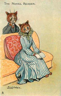 THE NOVEL READER - Postcard by Louis Wain (1905)