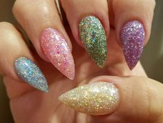 Pointy Steletto Easter Jellybean Nails