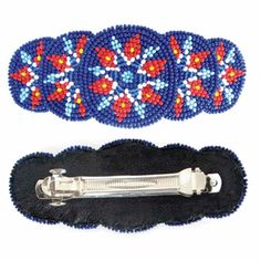 Blue Red White Seed Beads Rosette Beaded Hair Barrette French Clip Z36/1
