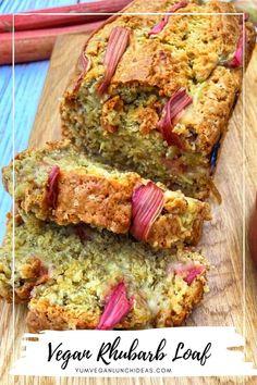 Rhubarb Loaf, Rhubarb Crumble, Rhubarb Cake, Vegan Baking Recipes, Delicious Vegan Recipes, Yummy Food, Vegan Savoury Muffins, Vegan Sweets, Vegan Food