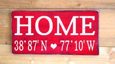 Personalized Home House Signs Longitude Latitude Wood Sign Painted Custom Map GPS Coordinates Wooden Plaque New Home First  Wedding Gift Rustic