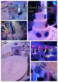A beautiful Winter Wonderland theme wedding at Grand Marquis. #winter, #snowflakes, #whitebranches, #ornaments, #weddings, #GrandMarquis.