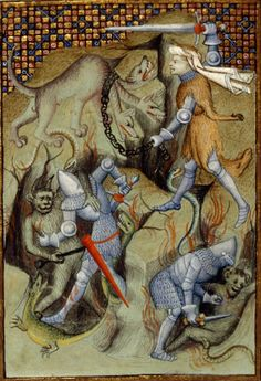 British Library, Harley 4431, f. 108v ('Detail of a miniature of Hercules slaying Cerberus, and Theseus and Pirithous battling demons&...