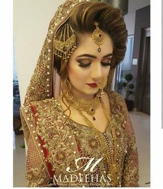 Pakistani Bridal Fashion Trends 2018 are all here for you. Have a look to the collection of Latest Pakistani Bridal Hairstyles Pakistani Bridal Hairstyles, Bridal Hairstyle Indian Wedding, Pakistani Bridal Makeup, Bridal Mehndi Dresses, Desi Wedding Dresses, Indian Bridal Outfits, Bride Hairstyles, Engagement Hairstyles, Pakistani Couture