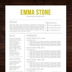 resume cv template the emma resume design in gold instant download