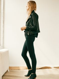 "madewell 9"" high riser skinny skinny jeans worn with the washed leather motorcycle jacket + billie boot. #denimmadewell"