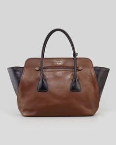 Prada Bicolor Soft Calfskin Tote Bag, Brown/Black on shopstyle.com