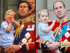 Trooping the Colour. Prince William and Prince Charles in 1984 (left) and Prince George and Prince William in Princesa Diana, Princesa Charlotte, Princess Kate, Prince And Princess, Princess Of Wales, Baby Prince, Prince Georges, Prince George Alexander Louis, Prince Charles