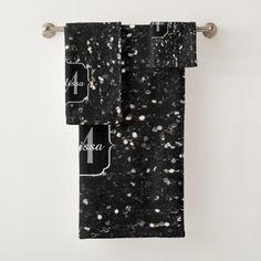 Personalize Black and white shiny glitter sparkles Monogram Bath Towel Set bathroom decor by #PLdesign #style #home #homedecor @zazzle