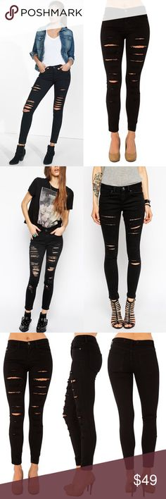 JULIETTE distressed skinnies - BLACK PLS SEE PIC 3 FOR ACTUAL ITEMSuper chic & fun! Every girl should own one! Very flattering! 90% cotton, 8.5% poly, 1.5% spandex. Made in USA. NO TRADE, PRICE FIRM Pants Skinny