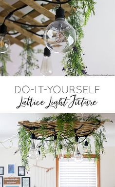 Make this easy DIY Light Fixture using upcycled wood lattice for a garden jungalow vibe