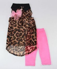 Loving this Brown Leopard Hi-Low Tunic & Fuchsia Leggings - Toddler & Girls on #zulily! #zulilyfinds