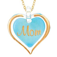 Glass Baron Turquoise Mom Heart Pendant With Chain #mom #mothersday #glassbaron #heart #necklace #jewelry #pendant