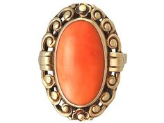 'Coral and 14 ct Yellow Gold Dress Ring - Antique German' http://www.acsilver.co.uk/shop/pc/Coral-and-14-ct-Yellow-Gold-Dress-Ring-Antique-German-Circa-1930-35p8682.htm
