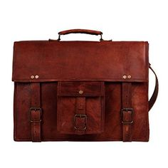 f7521e421a 15 Inch Leather Vintage Rustic Crossbody Messenger Courier Satchel Bag Gift  Men Women ~ Business Work Briefcase Carry Laptop Computer Book Handmade  Rugged ...