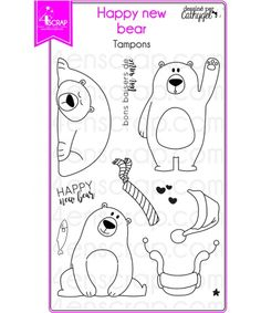 """Le set de tampons """"Happy new bear"""" #4enscrap"""